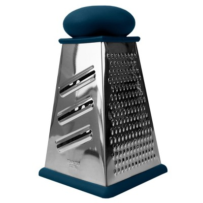 Michael Graves Design Comfortable Grip Non-Skid  Pyramid Shaped 4 Sided Stainless Steel Box Cheese Grater with Handle,  Indigo