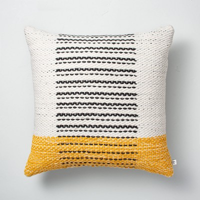 """18"""" x 18"""" Dotted Wave Stripes Indoor/Outdoor Throw Pillow Yellow - Hearth & Hand™ with Magnolia"""