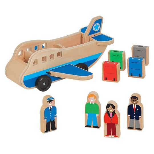 Melissa & Doug Wooden Airplane Play Set With 4 Play Figures and 4 Suitcases image number null