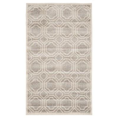 Amala 2'6 X4' Indoor/Outdoor Rug - Light Gray/Ivory - Safavieh