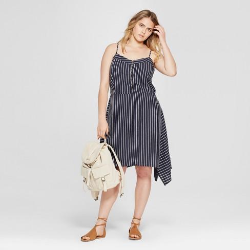 Women\'s Plus Size Striped Asymmetrical Button Front Dress - Universal  Thread™ Navy X