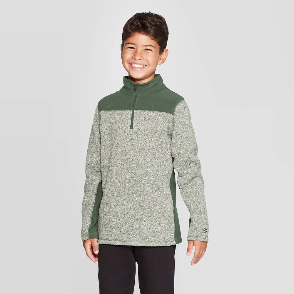 Image of Boys' Fleece 1/4 Zip Sweater - C9 Champion Spruce Pine Green Luck Heather XL, Boy's, Green Green Green Luck Grey