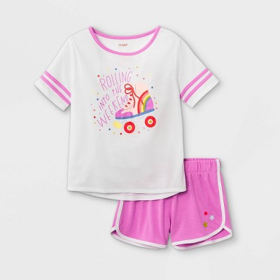 Girls' 2pc Roller Skate Pajama Set - Cat & Jack™ White/Pink