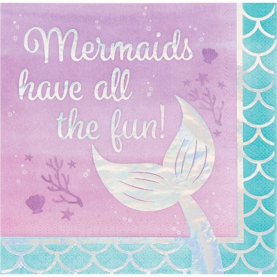 """48ct """"Mermaids Have All The Fun"""" Party Napkins"""