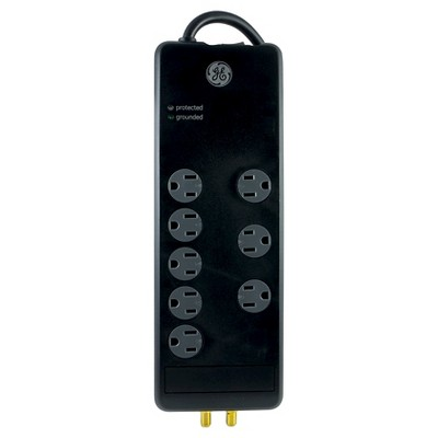 GE Pro 8 Outlet Surge with Coax Protection, 2100 Joules 4ft. Cord - Black