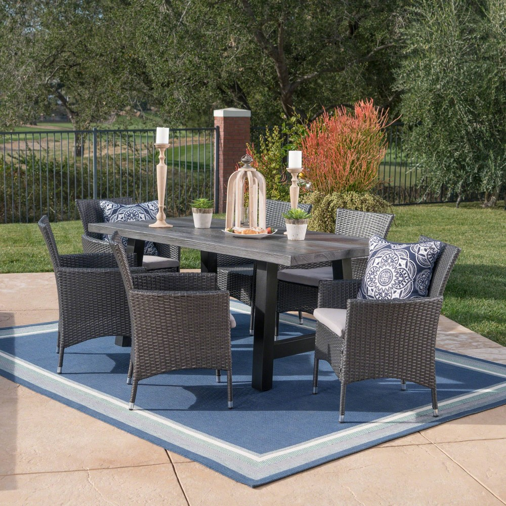 Sina 7pc Wicker and Light Weight Concrete Dining Set - Gray/Silver - Christopher Knight Home