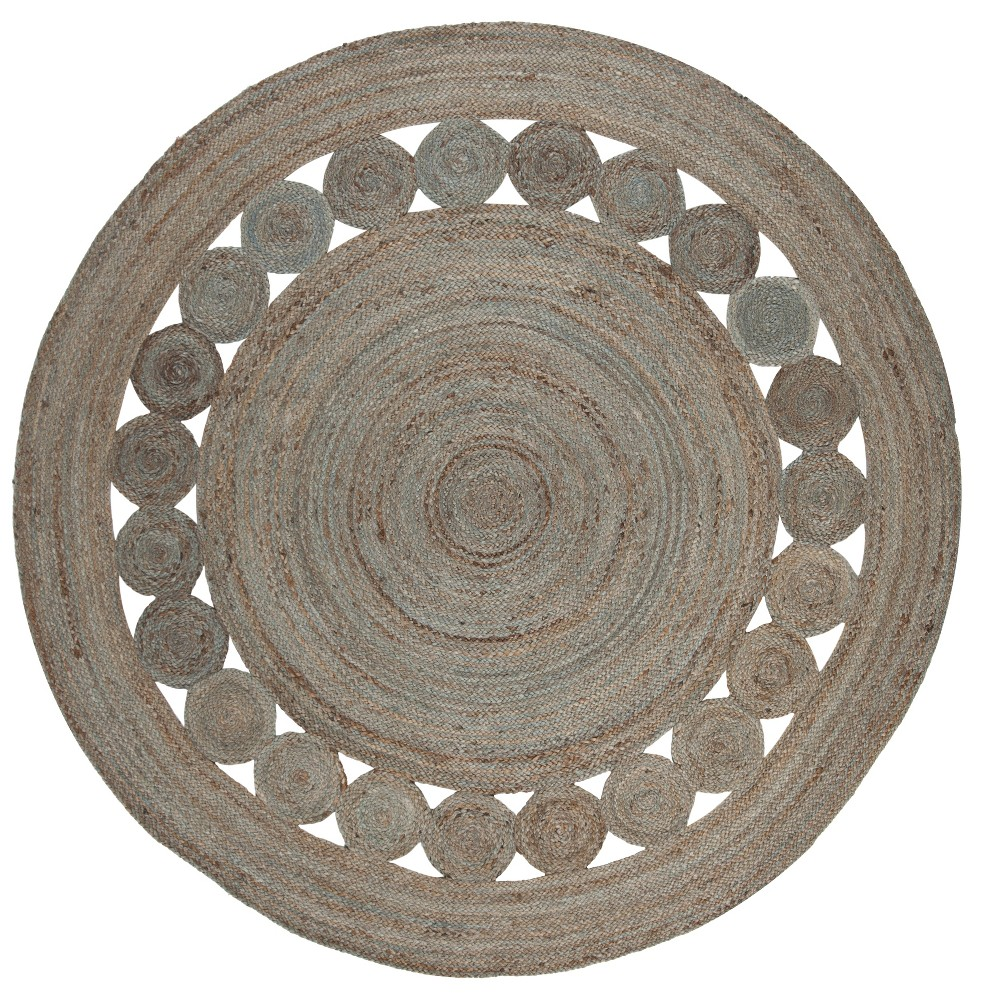 5 Solid Woven Round Area Rug Gray Safavieh