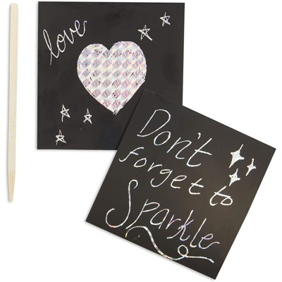 Bright Creations 200 Sheets Holographic Scratch Off Notes with 2 Wood Styluses Sticks, Arts and Crafts (3.5 in)