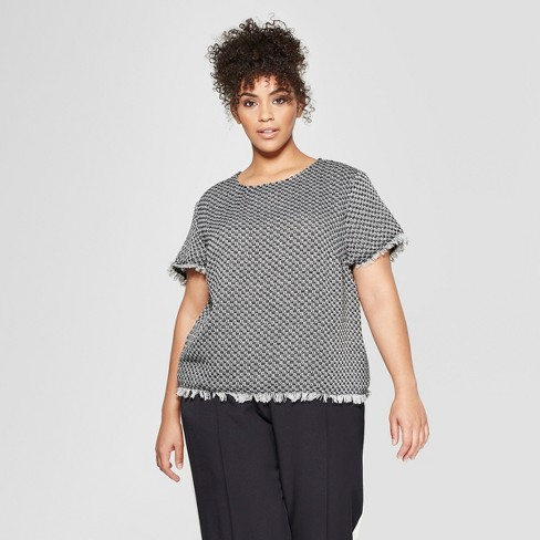 27ba696717545f Women's Plus Size Short Sleeve Boxy Tweed Blouse - Who What Wear™ Black/ Cream