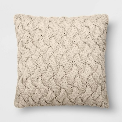 "18""x18"" Chunky Knit Square Throw Pillow Neutral - Threshold™"