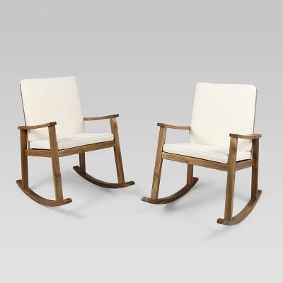 2pk Candel Acacia Wood Rocking Patio Chair Teak/Cream - Christopher Knight Home