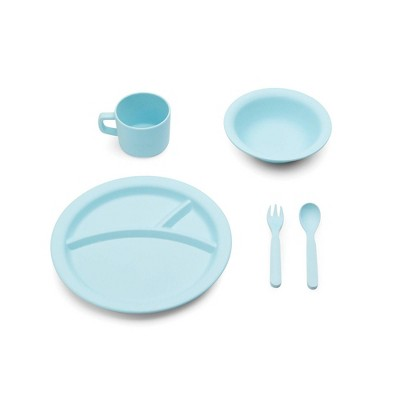 5pc Bamboo Fiber Kids Dinnerware Set Blue - Red Rover
