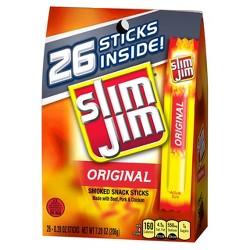 Slim Jim Original Smoked Snack Sticks - 26ct