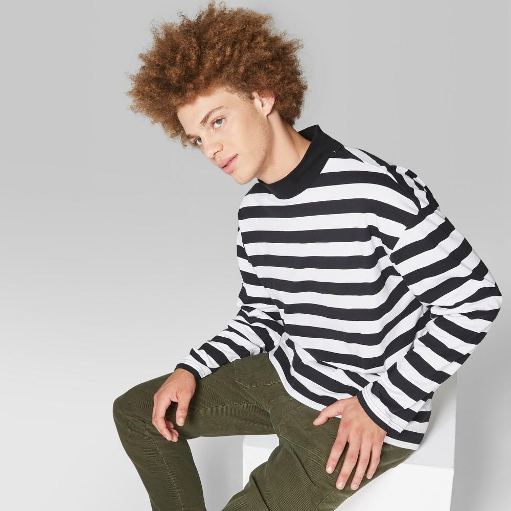 Men's Striped Long Sleeve Mock Neck T-Shirt - Original Use White S