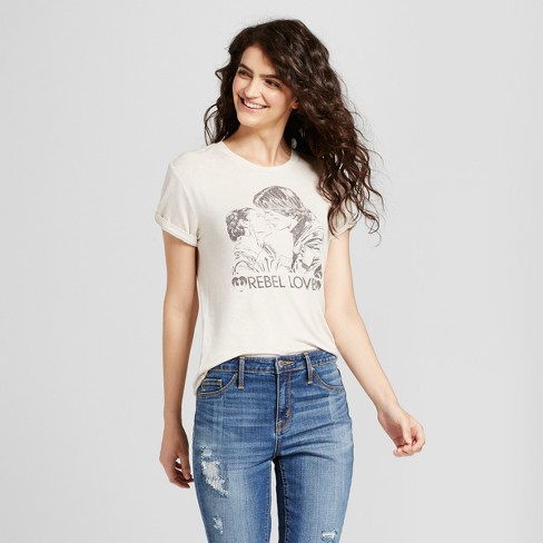 "Women's Short Sleeve Star Wars® The Last Jedi ""Rebel Love"" Graphic T-Shirt (Juniors') - Cream - image 1 of 2"