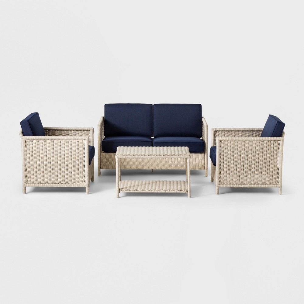 Monroe 4pc Patio Conversation Set - Navy - Threshold was $759.99 now $379.99 (50.0% off)