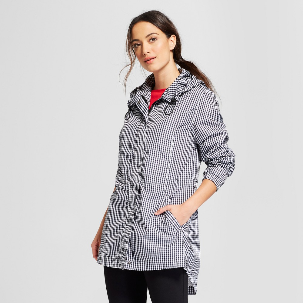 Women's Gingham Anorak Jacket - A New Day Black L, Multicolored