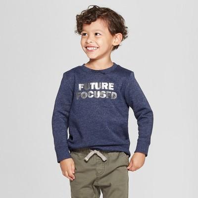 Toddler Boys' Future Focused Fleece Crew Sweatshirt - Cat & Jack™ Navy 12M