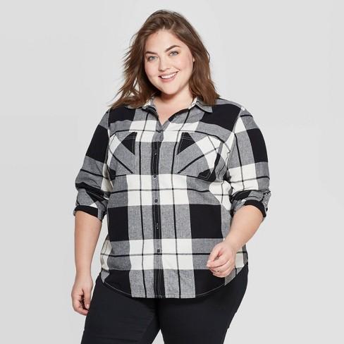 Women's Plus Size Plaid Long Sleeve Collared Flannel Shirt - Universal  Thread™ Black