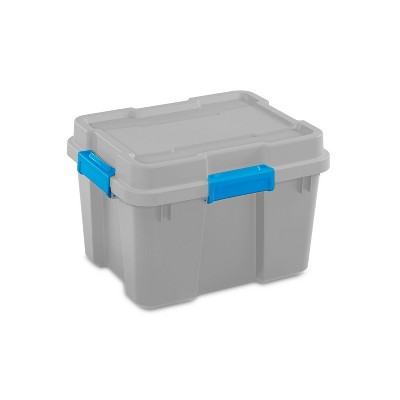 Sterilite 20gal Gasket Tote Gray with Blue Latches