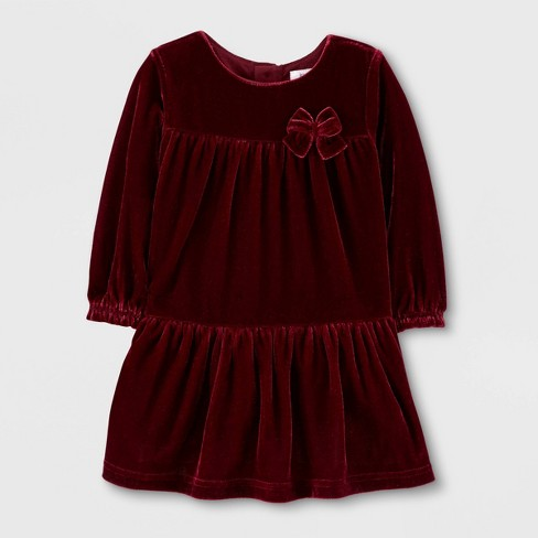 Toddler Girls' Long Sleeve Holiday Velvet Dress - Just One You® made by carter's Maroon - image 1 of 1