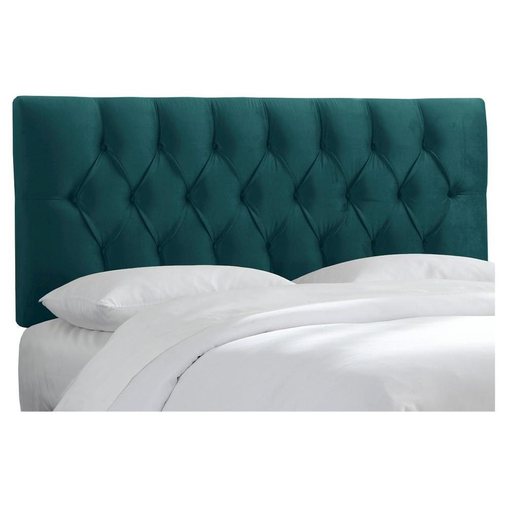 Queen Edwardian Tufted Headboard Velvet Mystere Peacock - Skyline Furniture