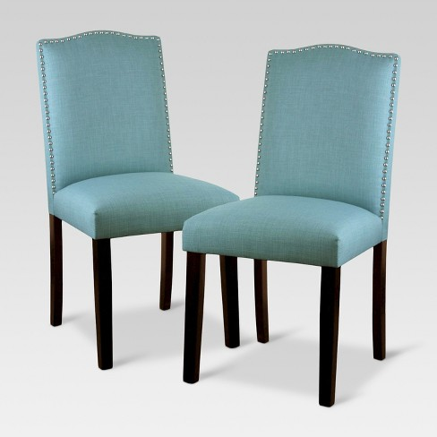 Camelot Nailhead Dining Chair - Light Blue (Set of 2) - Threshold™ - image 1 of 4