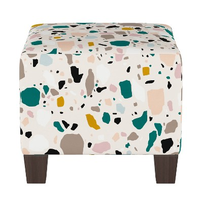 Annie Ottoman Terrazzo Emerald Ochre - Skyline Furniture