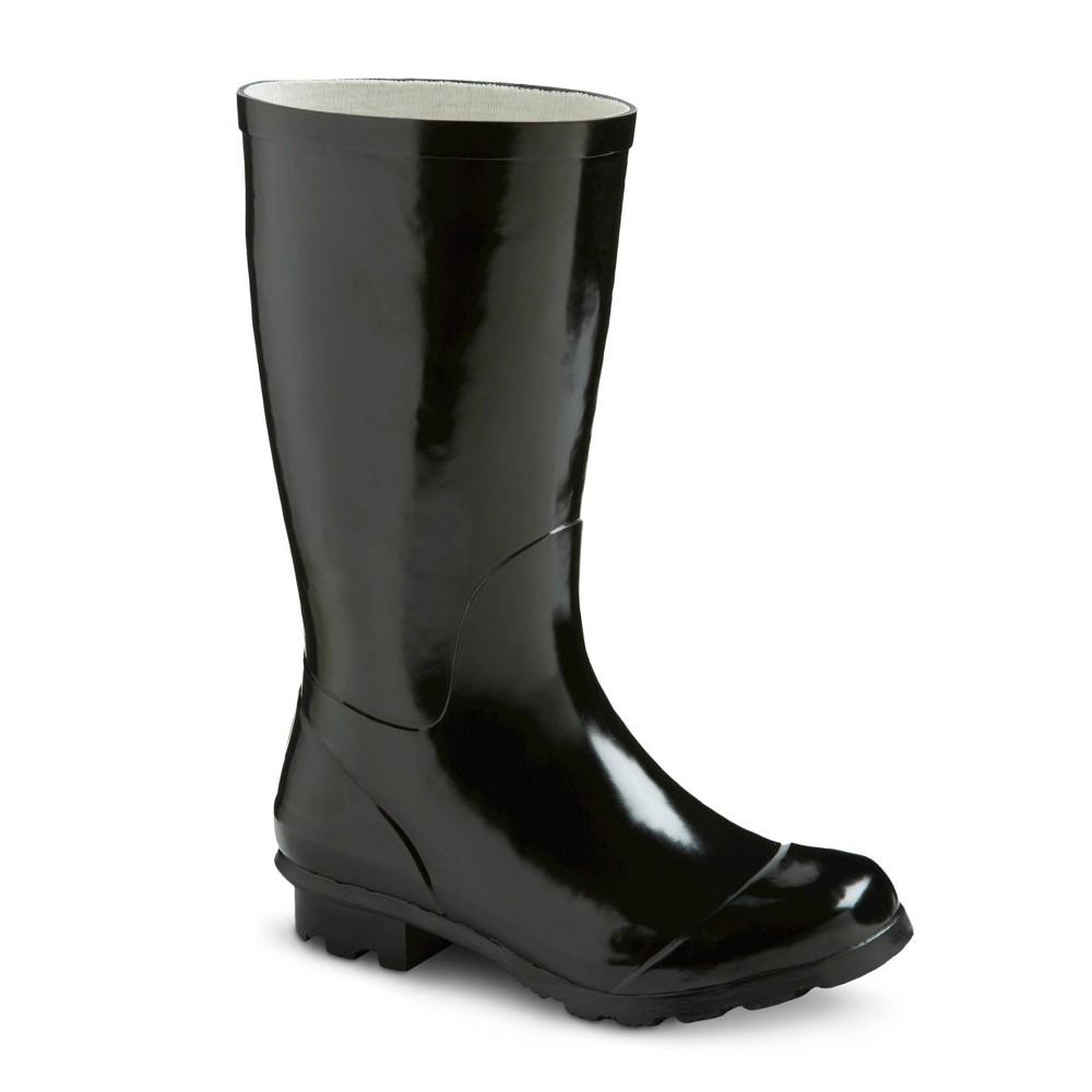 Girls Classic Tall Rain Boots Black 13