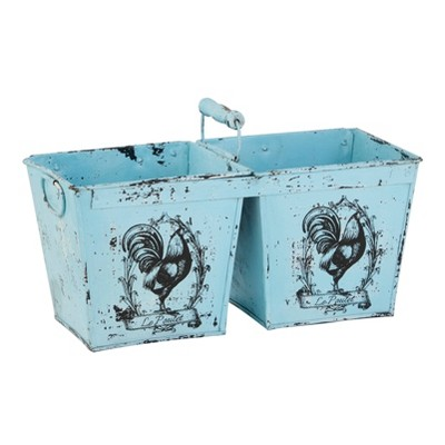 """23"""" French Country Rooster Illustration Metal Planter with Handles Distressed Blue - Olivia & May"""