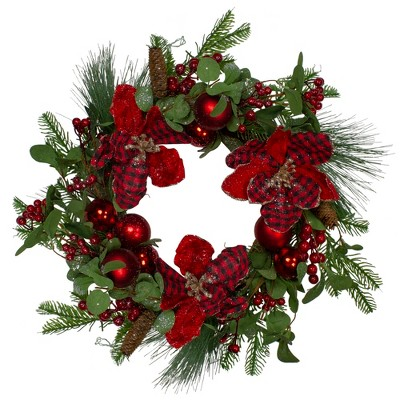 Northlight Magnolia and Red Berries Artificial Christmas Wreath - 22-Inch, Unlit