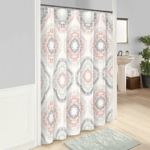 Sabina Printed Shower Curtain Aqua