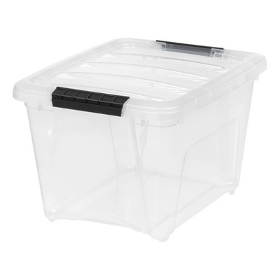 IRIS 19qt Stack & Pull Storage Bin Clear