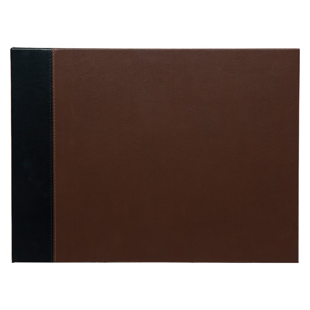 """Image of """"Pinnacle Albums 11 x 14"""""""""""""""" Premium Two Tone Leather Photo Album or Scrapbook Book Bound Album Black"""""""