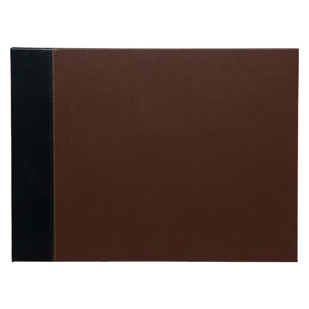 """Image of """"Pinnacle Albums 11"""""""" x 14"""""""""""""""" Premium Two Tone Leather Photo Album or Scrapbook Book Bound Album Black"""""""