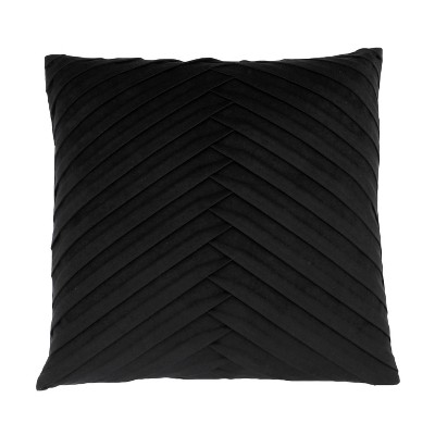 James Pleated Velvet Oversize Square Throw Pillow Black - Decor Therapy