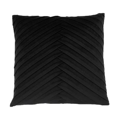 James Pleated Velvet Oversize Square Throw Pillow Black - Decor Therapy