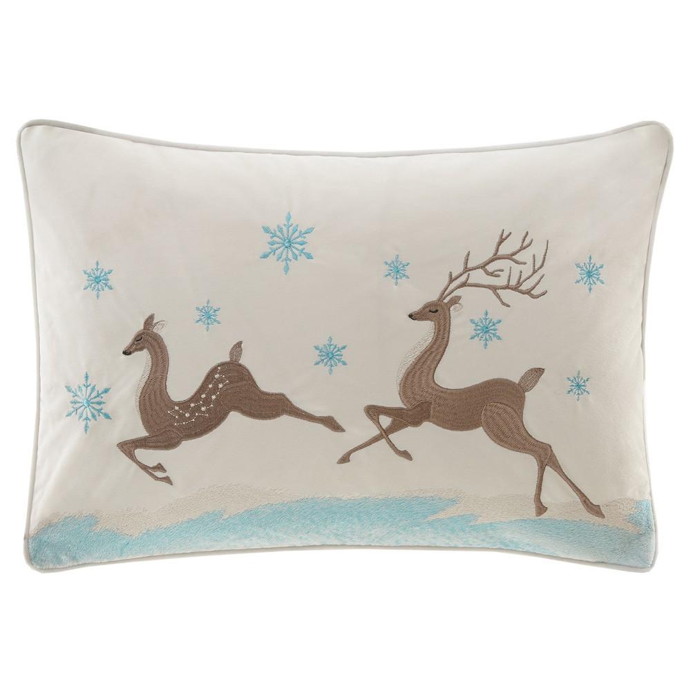 White Winter Prancers Oblong Throw Pillow (14