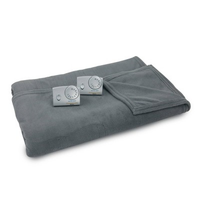 King Microplush Electric Blanket Charcoal Gray - Biddeford Blankets