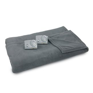 Full/Queen Microplush Electric Bed Blanket Charcoal Gray - Biddeford Blankets