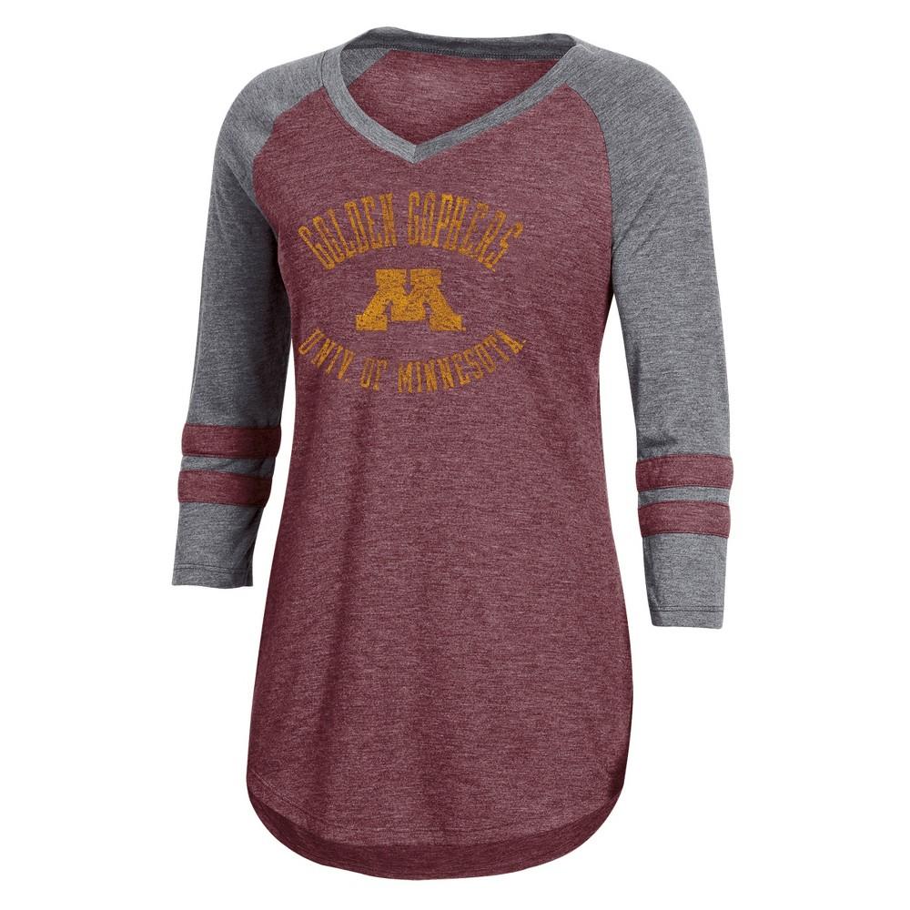 NCAA Women's 3/4 Sleeve V-Neck T-Shirt - Minnesota Golden Gophers - M, Multicolored