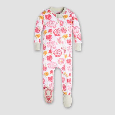 b5a8e0fe6719 Burt s Bees Baby Girls  Organic Cotton Rosy Spring Footed Sleeper ...