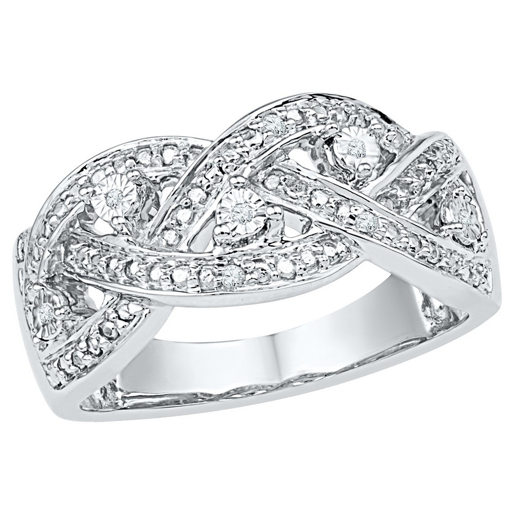 1/20 CT. T.W. Round Diamond Miracle and Pave Set Fashion Ring in Sterling Silver (8), Girl's, White