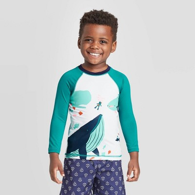 Toddler Boys' Sea Animals Print Raglan Long Sleeve Rash Guard - Cat & Jack™ Turquoise 2T