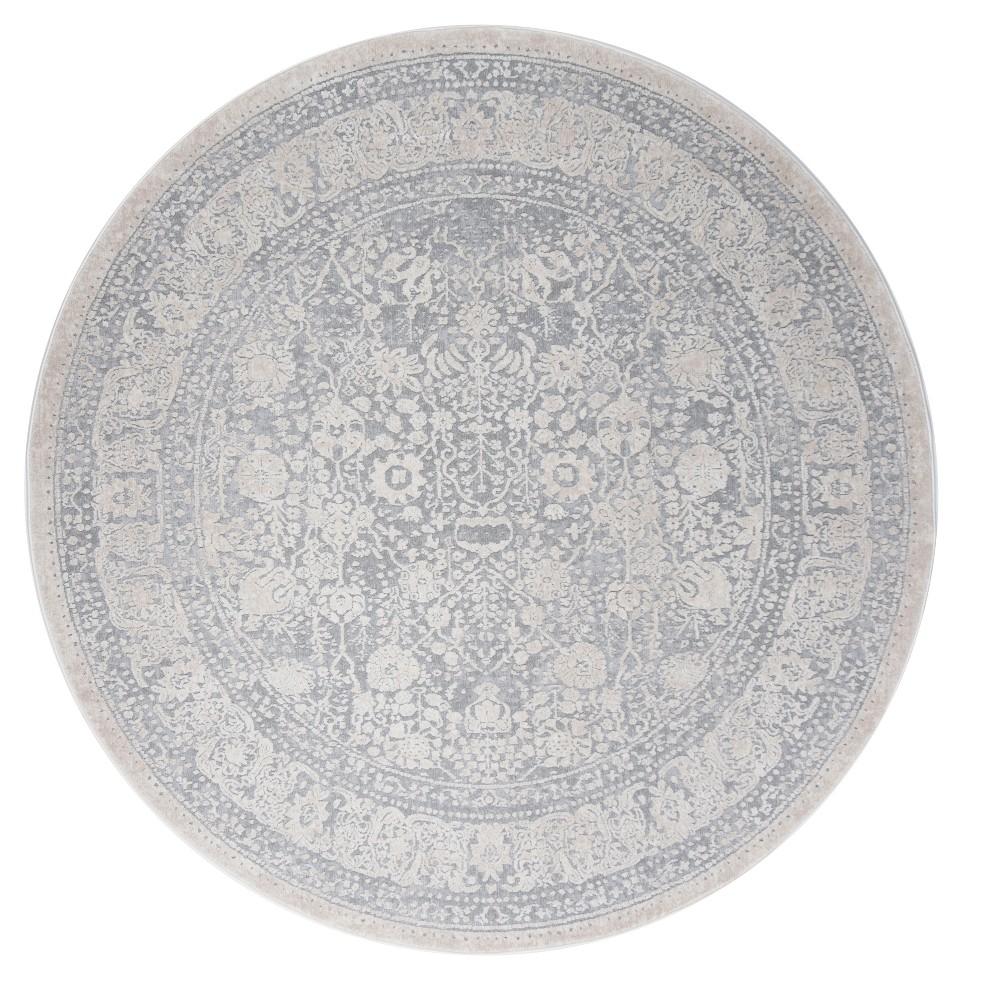 Light Blue/Cream (Light Blue/Ivory) Medallion Loomed Round Area Rug 6'7 - Safavieh