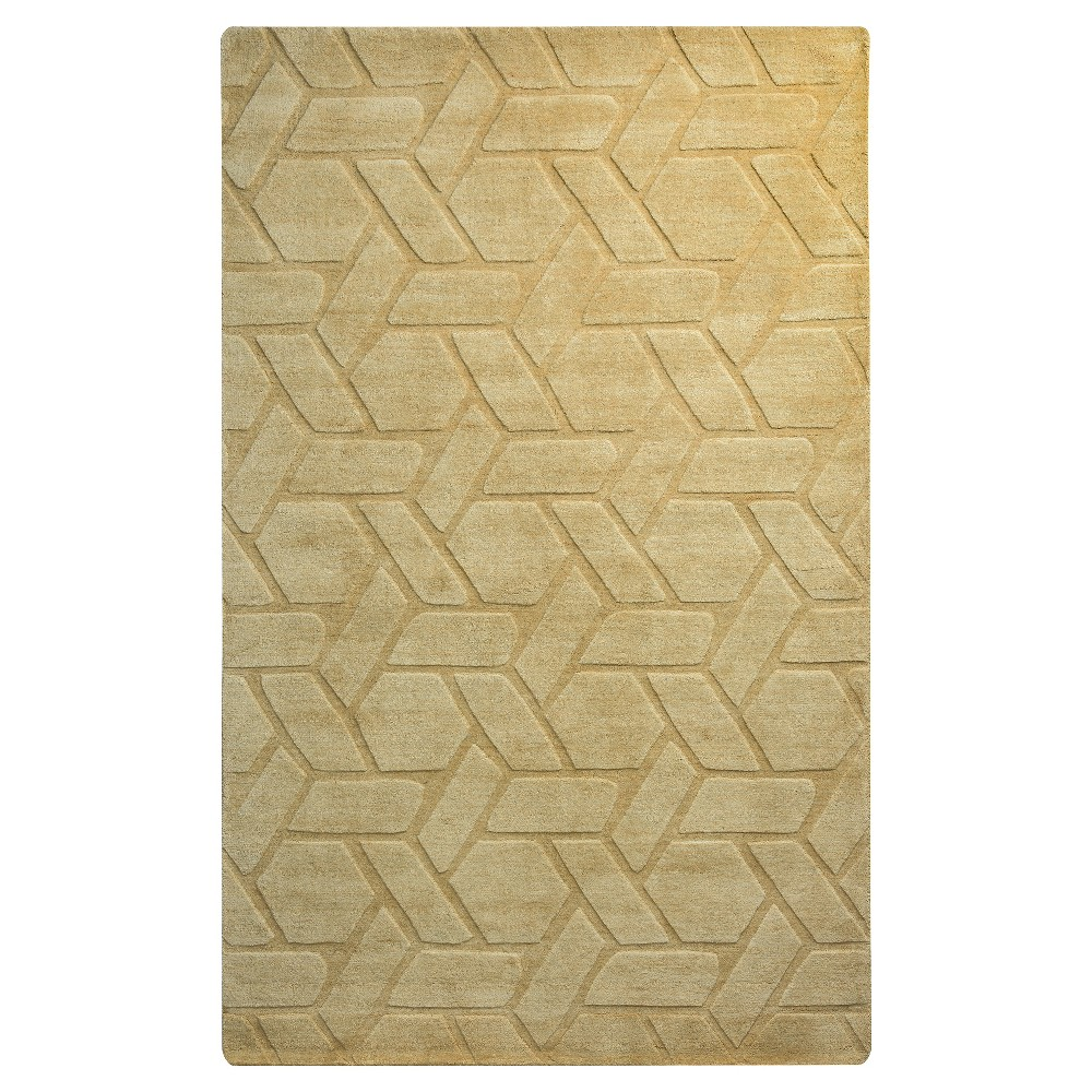 Rizzy Home Technique Collection Hand-Loomed 100% Wool Area Rug - Yellow/Gold (9' x 12')