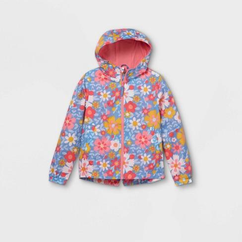 Girls' Floral Windbreaker Jacket - Cat & Jack™ Pink - image 1 of 2