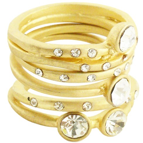 5Pc Crystals Matte Stack Rings - Clear ( 7 ) - image 1 of 1