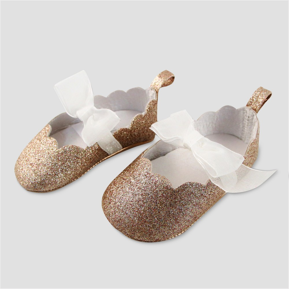 Baby Girls' Glitter Shoes with Bow - Cat & Jack Gold 6-9M