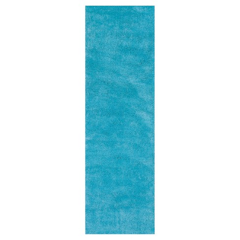 Bliss Highlighter Blue Shag Woven Rug - KAS - image 1 of 1